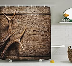 Moose Shower Curtain Antlers Decor Collection by Ambesonne , Deer on Wood Table Rustic Texture Surface Hunting Season Decorating, Polyester Fabric Bathroom Set with Hooks, 69 x 70 Inch Long, Tan Pru