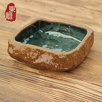 XOYOYO Tori Gres artesanal ollas de agua de té para lavar Lavabo lápiz cilindro desechos Cenicero Gres té para lavar gran pecera, lavar el té cuadrados: ...