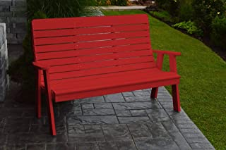 product image for Outdoor Winston Garden Bench - 5 Feet - Bright Red Poly Lumber