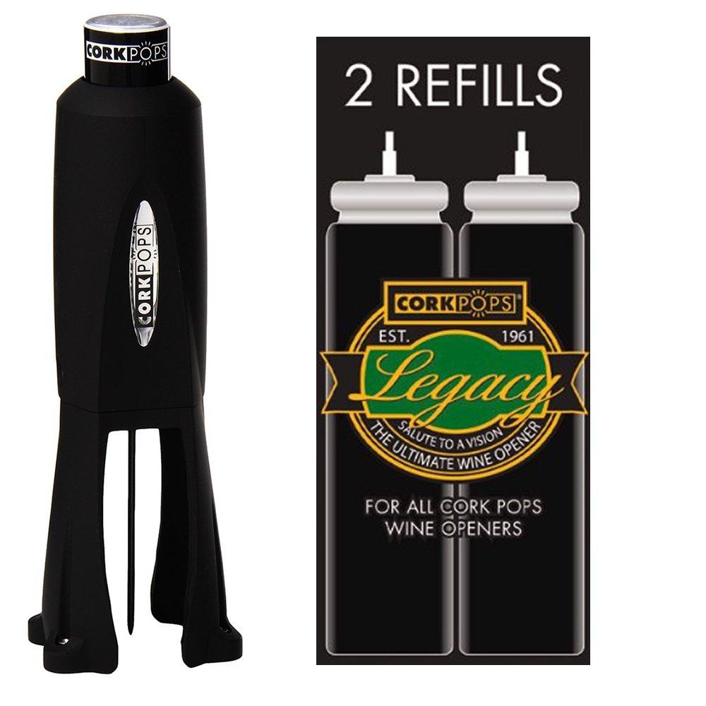 Cork Pops Legacy Wine Bottle Opener and 2 Refill Cartridges by Cork Pops