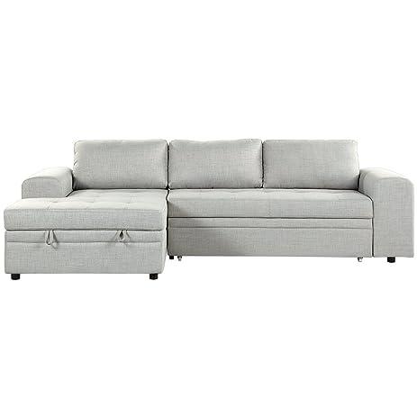 Contemporary And Modern Sectional Sofa W/ Chaise Light Gray Fabric Kiruna