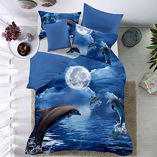 THEE 3D Animal Dolphin Quilt Cover Bedding Duvet Cover Set with Pillow Case(Twin) (Dolphin Twin Bed Set)