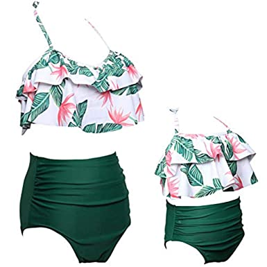 429101e61dd Amazon.com: Mommy and Me Swimsuits High Waisted Family Matching Swimwear  Baby Girls Floral Printed Bikini Set: Clothing