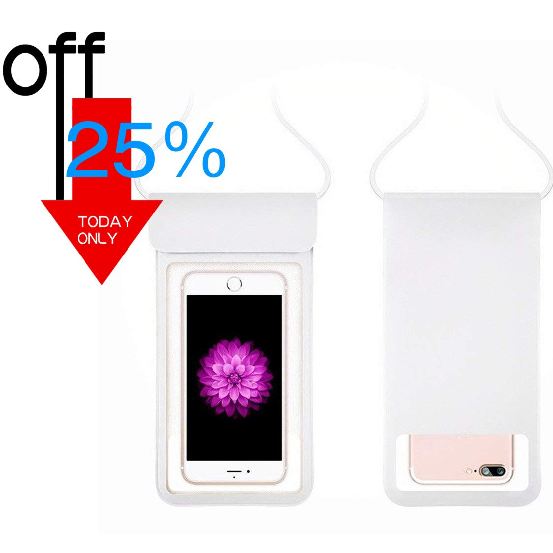 """[2018 NEW] Waterproof Case with Touch ID,Coeuspow Dry Bag Pouch with High Sensitive Fingerprint Recognition for Apple iPhone X 8 7 6 6s Plus, Galaxy etc up to 6.0"""" (white)"""