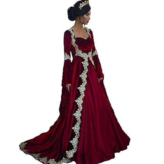 Tsbridal Velvet Prom Dress Saudi Arabic Dubai Appliques Long Sleeve Evening DressesBurgundy-US2