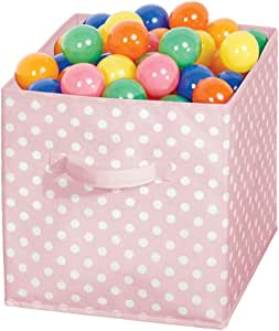 mDesign Caja organizadora cuadrada para dormitorio o habitación infantil – Caja de tela con asa para ordenar armarios – Caja plegable para guardar juguetes o ropa – rosa claro y blanco: Amazon.es: Hogar
