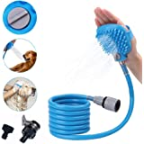HiSung Pet Shower Sprayer with 8Ft Hose, Massage Bristles and 2 Hose Adapters that Compatible For all Shower Bath Tub, Indoor/Outdoor Functionality for Dog, Cat and Horse Grooming