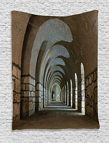 asddcdfdd Apartment Decor Tapestry, Corridor In An Old Fortress Touristic Historical Landmark Medieval Hallway Arch Picture, Bedroom Living Room Dorm Decor, 40 W x 60 L Inches, Sand