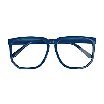 87ffabe8987 Amazon.com   Hotportgift Large Geek Glasses Clear Lens Square Party Fancy  Dress Big Nerd Men Women (dark blue)   Beauty Products   Beauty