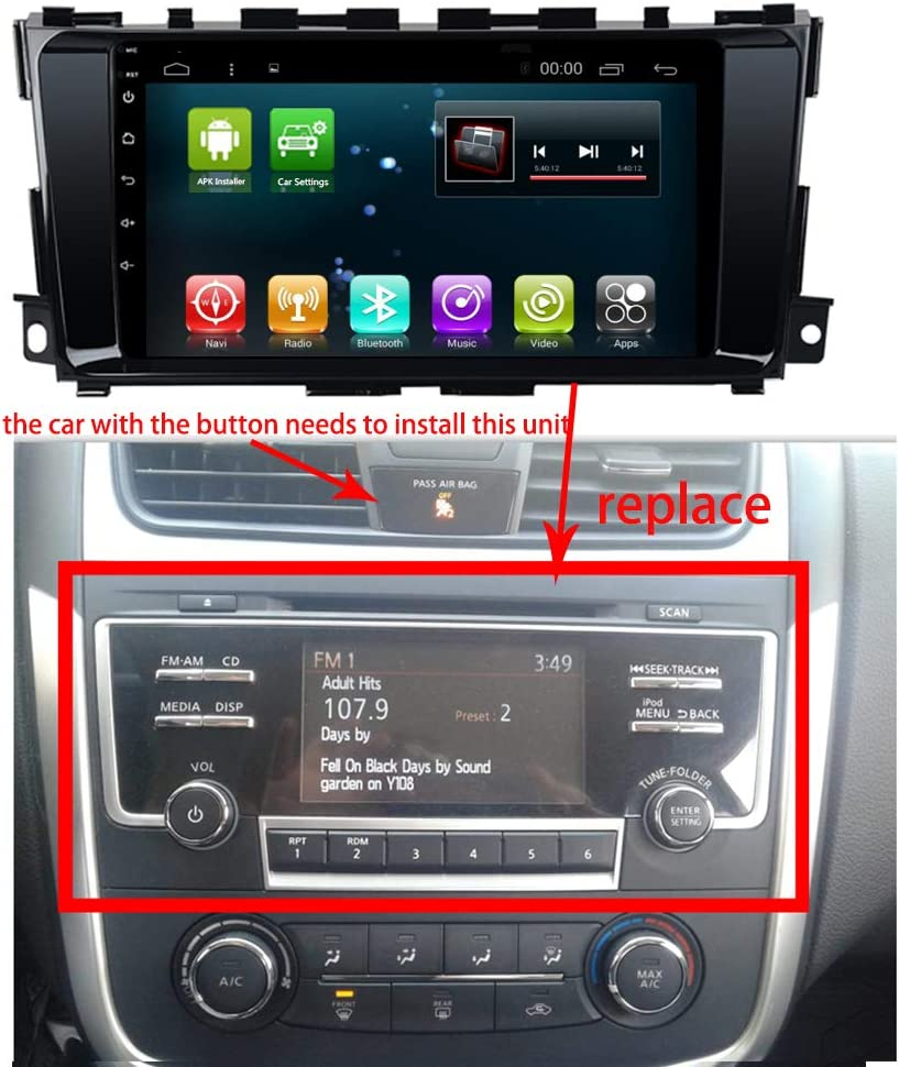 10.2 Quad Core Android 7.1 Car Radio GPS Player Navi for Nissan Teana Altima 2013-2018 Auto Multimedia Car Stereo with Bluetooth WiFi USB RDS Navigation Android 7.1 1+16G for Altima