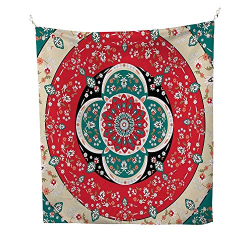 (Turkish Patternocean tapestryCircles with Little Pink Blossoms Traditional Floral Design Spring Inspired 54W x 72L inch Large tapestryMulticolor)