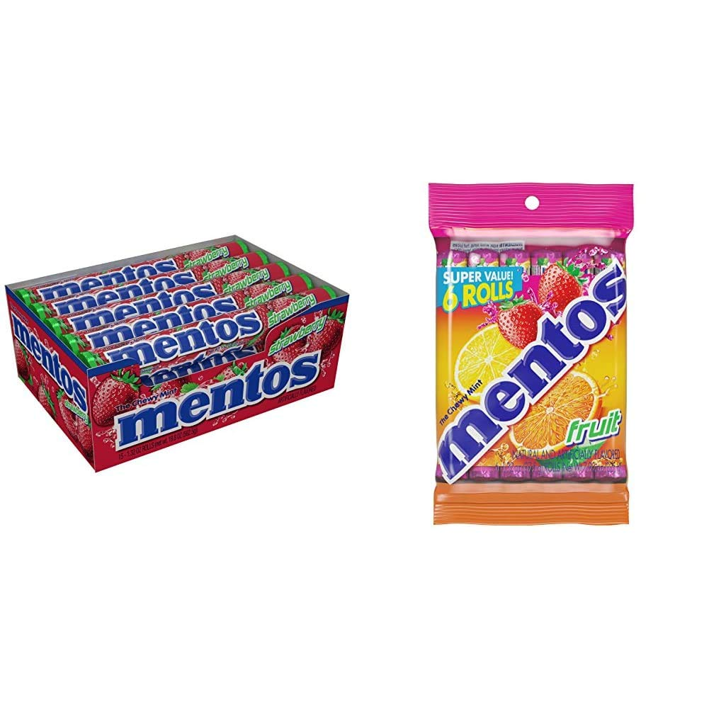 Mentos Chewy Mint Candy Roll, Strawberry, Non Melting, Party, 14 Pieces (Bulk Pack of 15) & Chewy Mint Candy Roll, Fruit, Non Melting (Pack of 6)