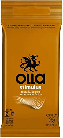 Preservativo Lubrificado Olla Stimulus Camisinha 6 unidades, Olla, pacote de 6
