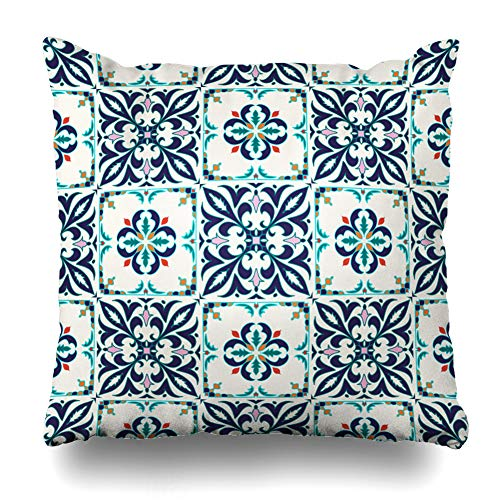 (Ahawoso Throw Pillow Cover Color Blue Azulejo Colored Pattern Abstract Arabesque Spanish Orange Ceramic Cross Floor Floral Decorative Pillowcase Square Size 20
