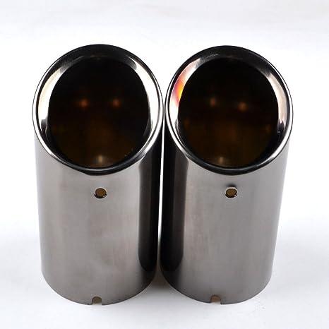 RunQiao 2 x Acero Inoxidable Silenciador Terminales Embellecedores de Tubo de Escape Cola de Punta Azul
