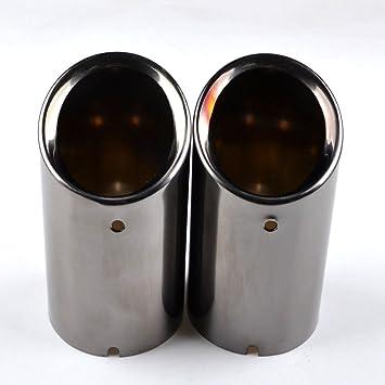 RunQiao 2 x Acero Inoxidable Silenciador Terminales Embellecedores de Tubo de Escape Cola de Punta (Negro): Amazon.es: Coche y moto