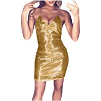 SHOBDW 2020 Vestidos de Fiesta Mujer Cortos Lentejuelas Club Vestido Mujer Sin Mangas Cuello en V Slim Fit Sexy Mini…