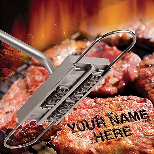 (Ian Enterprises BBQ Branding Iron with Changeable Letters Personalized Meat Barbecue Steak Names Press Tool Outdoor Grilling (Letters-Silver))