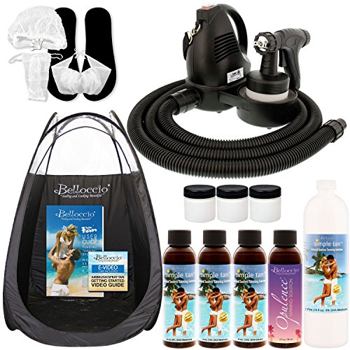 Belloccio Premium T75 Sunless HVLP Turbine Spray Tanning System; Simple Tan 4 Solution Variety Pack, Tent, Cups, Accessories & Video ()