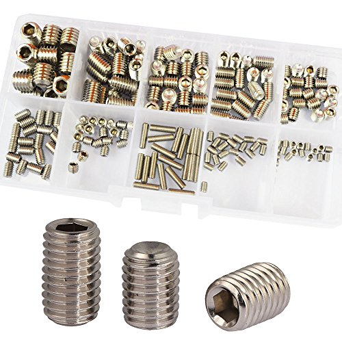 Grub Screw M3 M4 M5 M6 M8 Metric Thread Hex Allen Socket Head Cap Bolt Internal Hexagon Drive Cup Point Set Screw Assrotment Kit 200Pcs 304 Stainless Steel