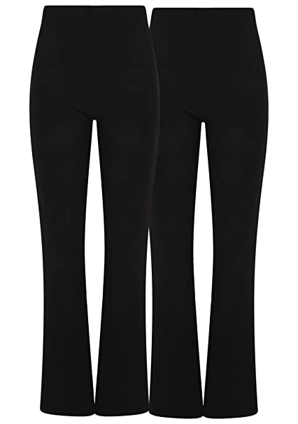 NEW LADIES BOOTLEG STRETCH ELASTICATED WAIST FINELY RIBBED COMFORT WORK TROUSERS