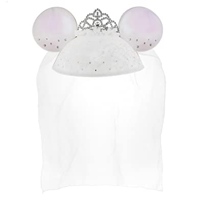 Amazon.com  Disney Parks Exclusive Mickey Minnie Bride Ears Hat Veil   Clothing 096abb9af1f