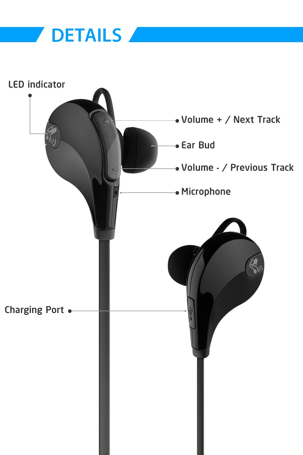 SoundPEATS Qy7 Auriculares Inalámbricos en Estéreo con Bluetooth 4.0 para iPhone, iPad, iPod, Teléfonos Móviles, Tablets, y otros dispositivos, ...