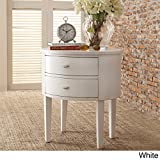 Double Drawer Oval Wood Accent Table (White)