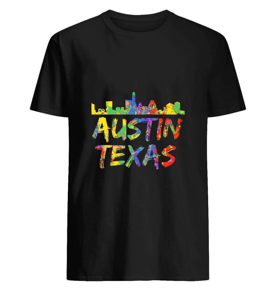 Austin Texas Skyline Colorfull Paint Splash 12 T Shirt For Unisex
