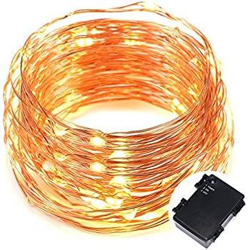 Kohree 100 Micro LEDs string Light Battery Powered on 33ft Long Ultra Thin String Copper Wire, Decor Rope Flexible Light with Timer and Battery Box Perfect for Weddings, Tree, Party, Bedroom, Xmas