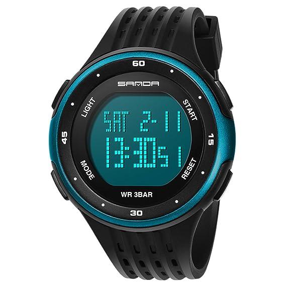 Reloj pantalla digital,Moda casual diseño de múltiples funciones al aire libre impermeable luminoso impermeable reloj electrónico-D: Amazon.es: Relojes