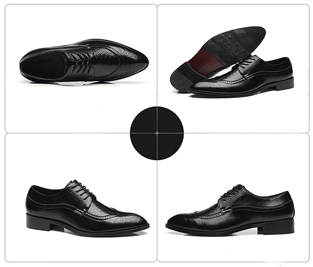 CMM Mens Formal Classic Wingtip Oxford Shoes Lace-up Pointed Toe for Dinner Party