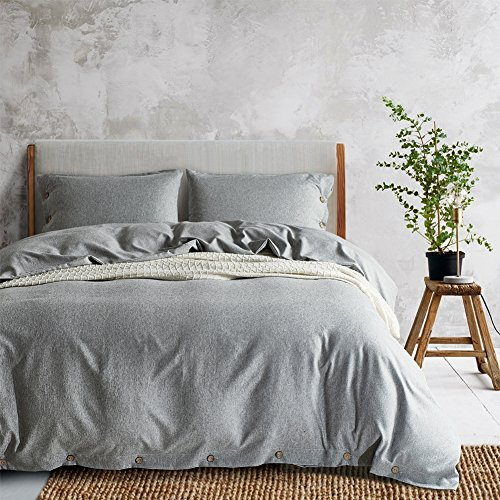 AiMay Duvet Cover Set 100% Luxury 150g Double Brushed Microfiber with Coconut Buttons Closure Solid Color Heavy and Super Soft Warm More Durable(Queen, Light Gray) ()