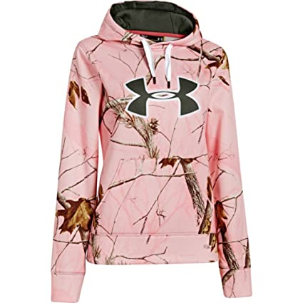 555837195021 Under Armour UA Camo Big Logo Hoody - Womens Realtree AP Pink   White    Rifle