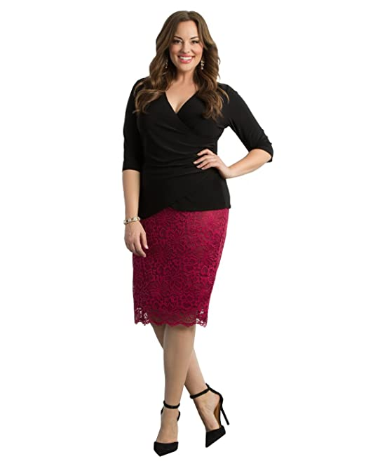 46e4f346fc4 Kiyonna Women s Plus Size Loren Lace Skirt 4X Pinot Noir  Amazon.ca ...