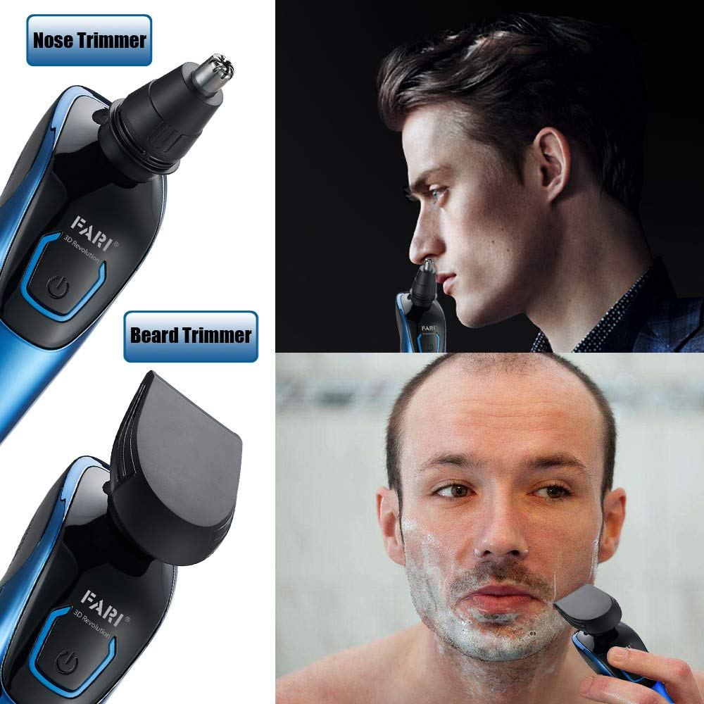 Men's Electric Rotary Razor Multi-Functional Wet & Dry Waterproof Cordless Rotary Shaver - Blue