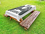 Lunarable Gamer Outdoor Tablecloth, We Love Gaming Quote Greyscale Controller Design with Heart in the Middle, Decorative Washable Picnic Table Cloth, 58 X 120 Inches, Charcoal Grey White