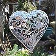 Coeur miroir en mosaïque , à suspendre dans la maison ou dans le jardin.