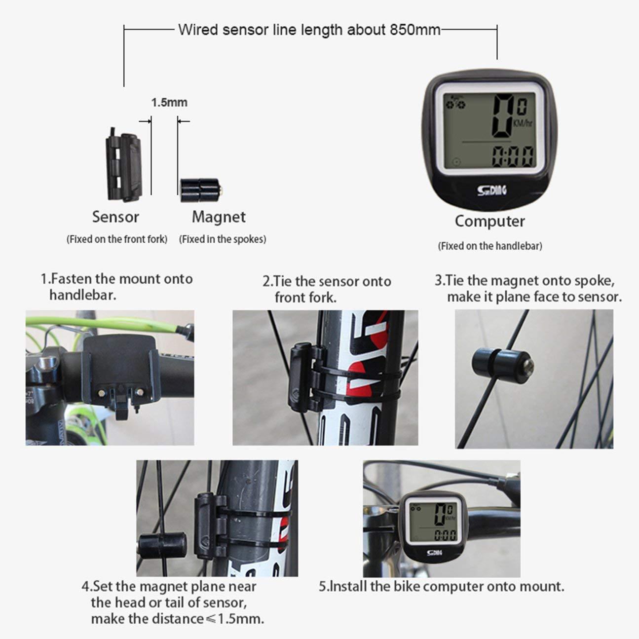 MachinYesell SUNDING Compteur De V/élo Compteur De Vitesse sans Fil /Étanche V/élo V/élo Compteur De V/élo Ordinateur Multi-Fonctions LCD Affichage R/étro-/Éclairage