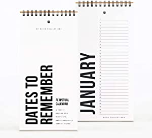 Bliss Collections Black Perpetual Calendar, Important Dates to Remember, 5x10 Monthly and Daily Wall Hanging Journal for Special Days, Birthdays, Anniversaries —Stay Organized - Never Forget a Date!