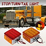 Partsam 2x Truck Trailer Square Double Face Pedestal Stop Turn Tail Light Amber / Red 39 LED for Peterbilt Freightliner Kenworth Mack Western Star