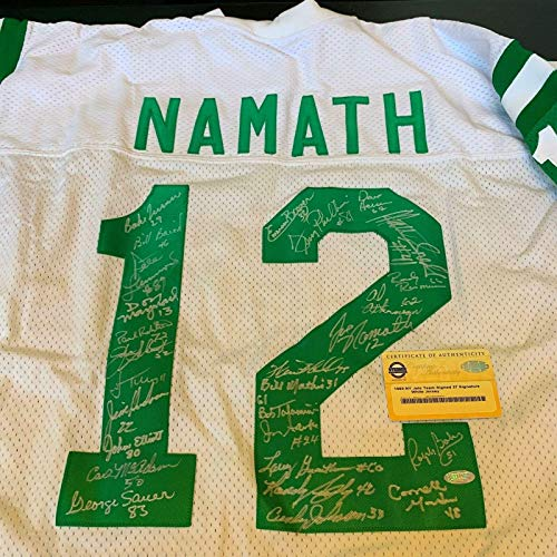 1969 New York Jets Super Bowl Team Signed Joe Namath Jersey 27 Sigs COA - Steiner Sports Certified - Autographed NFL Jerseys