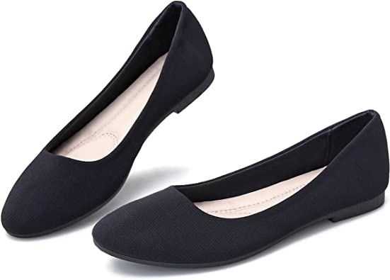 Amazon.com | Obtaom Round Toe Women Flat Shoes Slip on Girls Dress Black  Ballet Flats | Flats