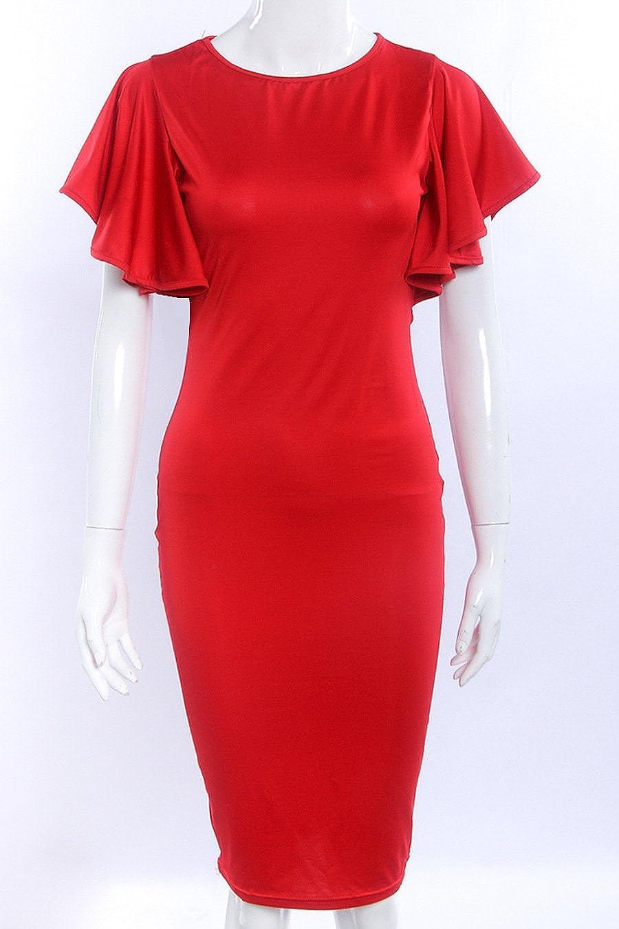 RAFAGO Trend Slim Short Sleeve Midi Dress
