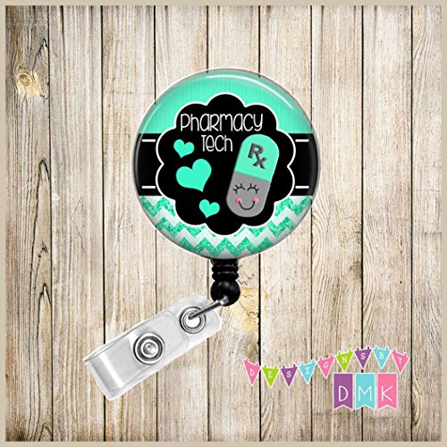 (Happy Pill - Mint Green and Grey - Pharmacy Tech - Glitter Chevron - Button Badge Reel)