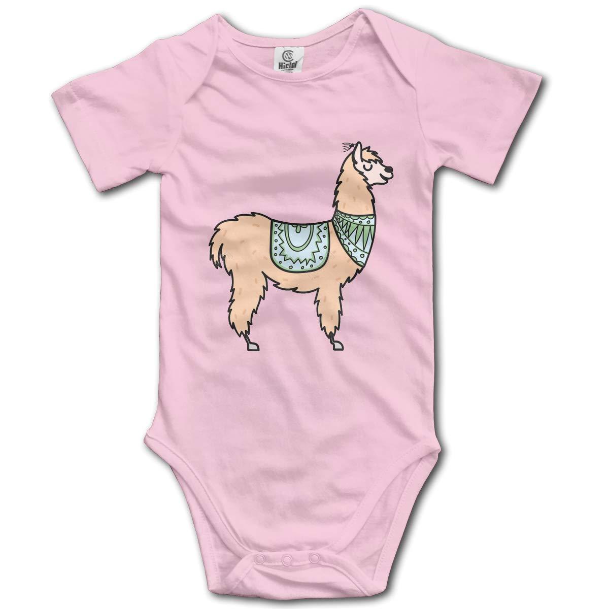 Peru Animal Alpaca Newborn Infant Toddler Baby Girls Boys Bodysuit Short Sleeve 0-24 MonthsBlack