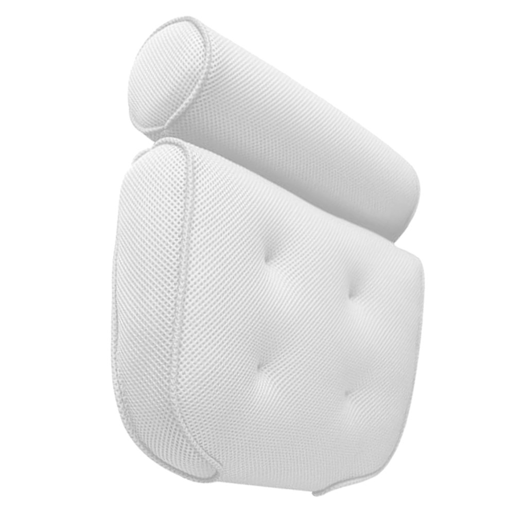MagiDeal White Relaxing Spongy Cushioned Bath Spa Pillow Head Neck Rest Bathroom
