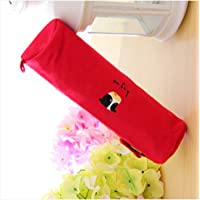 WYFKYMXX Small Animal Pattern Cylinder Pen Bag Lovely Canvas Cartoon Pen Cylinder Pencil case 19cm5cm (red)