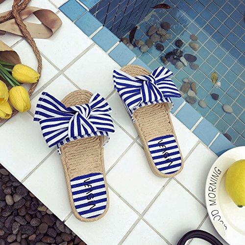 mit LaoZanA Strand Pantoletten Streifen Sandalen Bowknot Schuhe Damen Flachen Hausschuhe 7Sn0U7