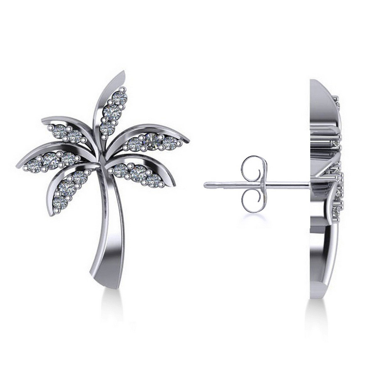 Allurez Diamond Palm Tree Summer Island Earrings in 14k White Gold (0.20ct)